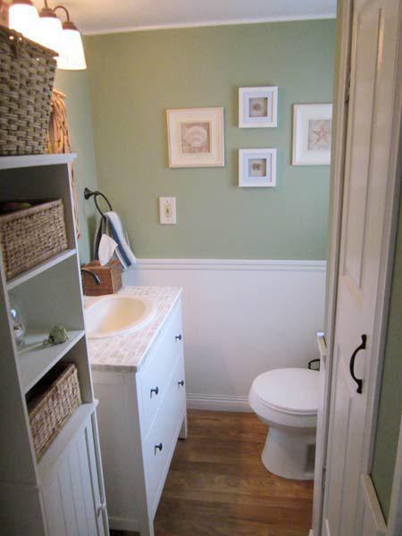 Tiled surface around the bathroom sink.