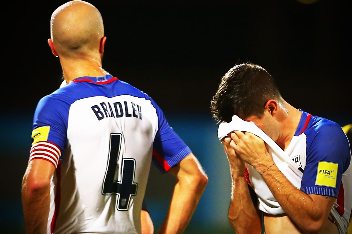 1a955ddf4 Players Michael Bradley (left) and Christian Pulisic of the United States  mens national team after their loss against Trinidad and Tobago during the  FIFA ...