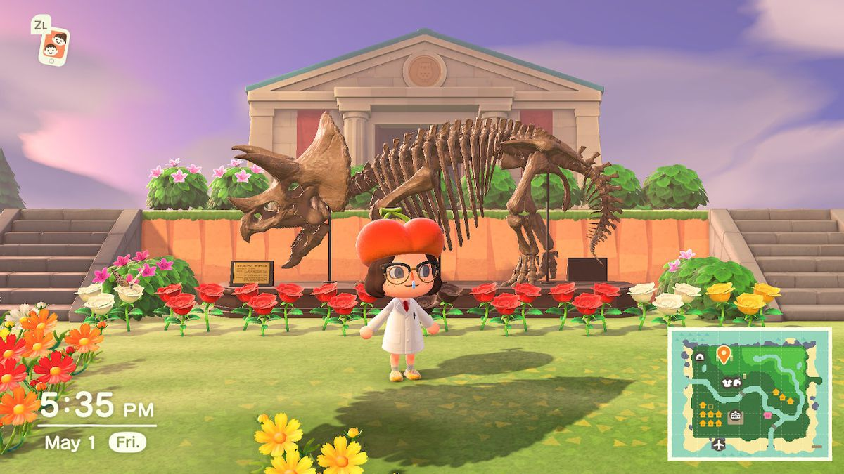 A museum on a platform with a dinosaur and an Animal Crossing human