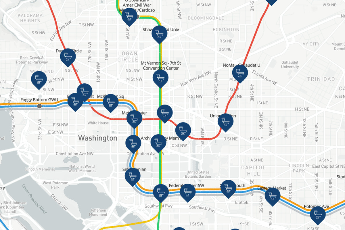 Every D.C. Metro station\'s closest public bathroom, mapped - Curbed DC