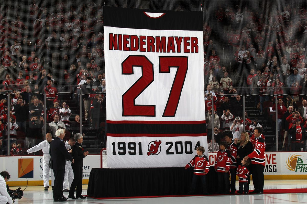 As of this moment, on Scott Niedermayer Night (December 16, 2011), no other Devil will wear #27.  It's forever Niedermayer's.  (Photo by Bruce Bennett/Getty Images)