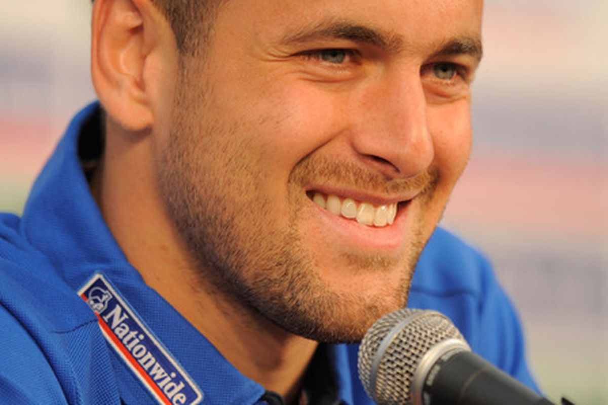 I bet Joe Cole's head feels all prickly like a newly shorn hedgehog. (Photo by Michael Regan/Getty Images)