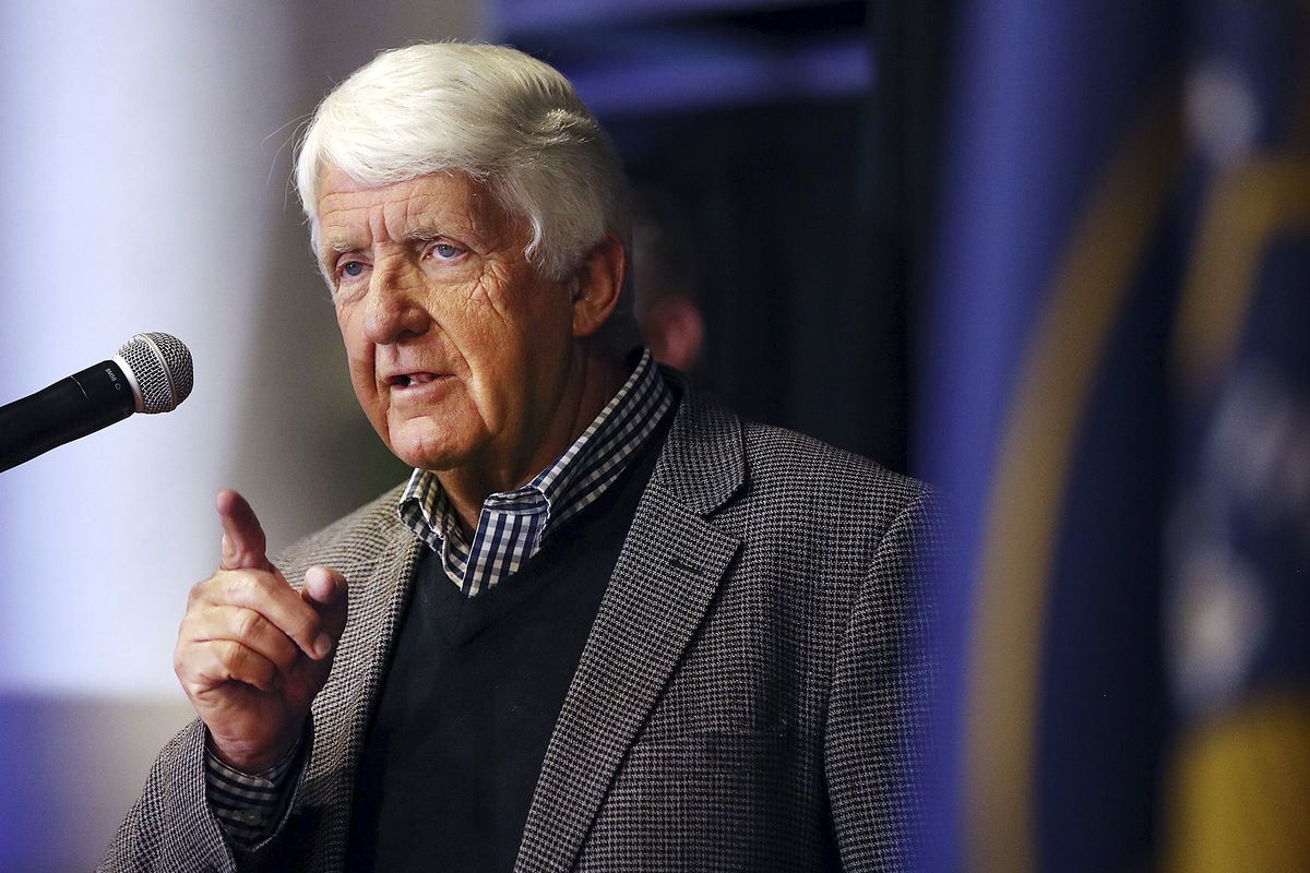 FILE - Rep. Rob Bishop, R-Utah speaks during the UTGOP election night party in Salt Lake City on Tuesday, Nov. 6, 2018.