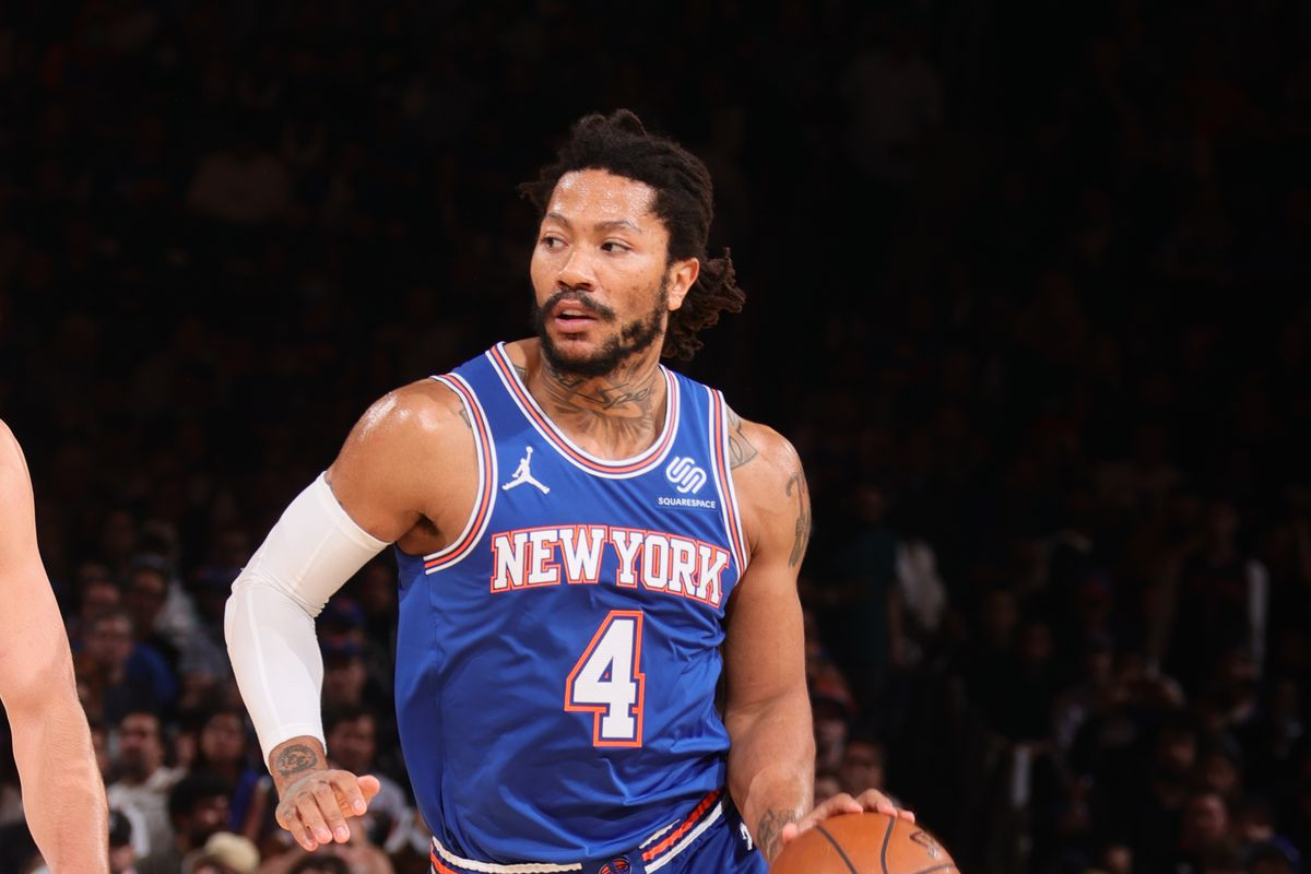 Derrick Rose #4 of the New York Knicks drives to the basket against the Atlanta Hawks during Round 1, Game 5 of the 2021 NBA Playoffs on June 2, 2021 at Madison Square Garden in New York City,