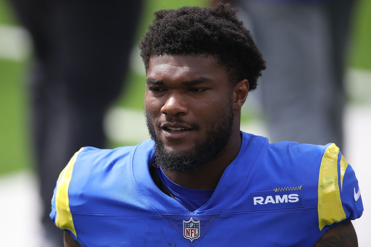 Cam Akers of the Los Angeles Rams look son during a team scrimmage at SoFi Stadium on August 29, 2020 in Inglewood, California.