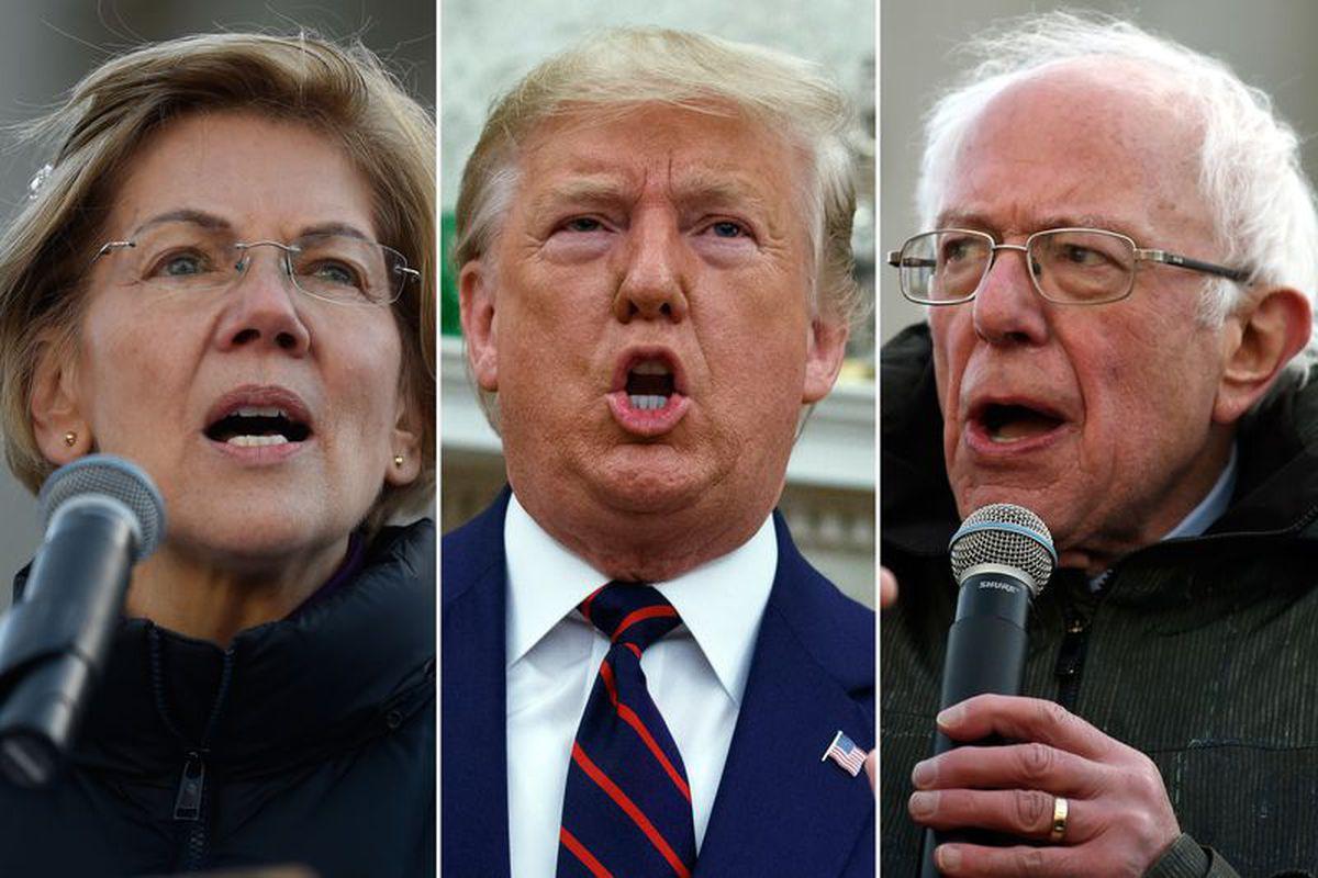 From left, Sen. Elizabeth Warren, President Donald Trump and Sen. Bernie Sanders.