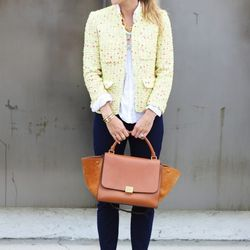 """Jacey of <a href=""""http://www.damselindior.com/2013/03/oh-baby-oh-baby/"""">Damsel in Dior</a> is wearing J.Crew <a href=""""http://www.jcrew.com/browse/single_product_detail.jsp?PRODUCT%3C%3Eprd_id=845524441797562&FOLDER%3C%3Efolder_id=2534374302052823"""">pants</"""