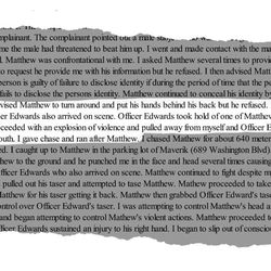Excerpt from an Ogden police report about Matthew Hall's final arrest on Nov. 17, 2015.