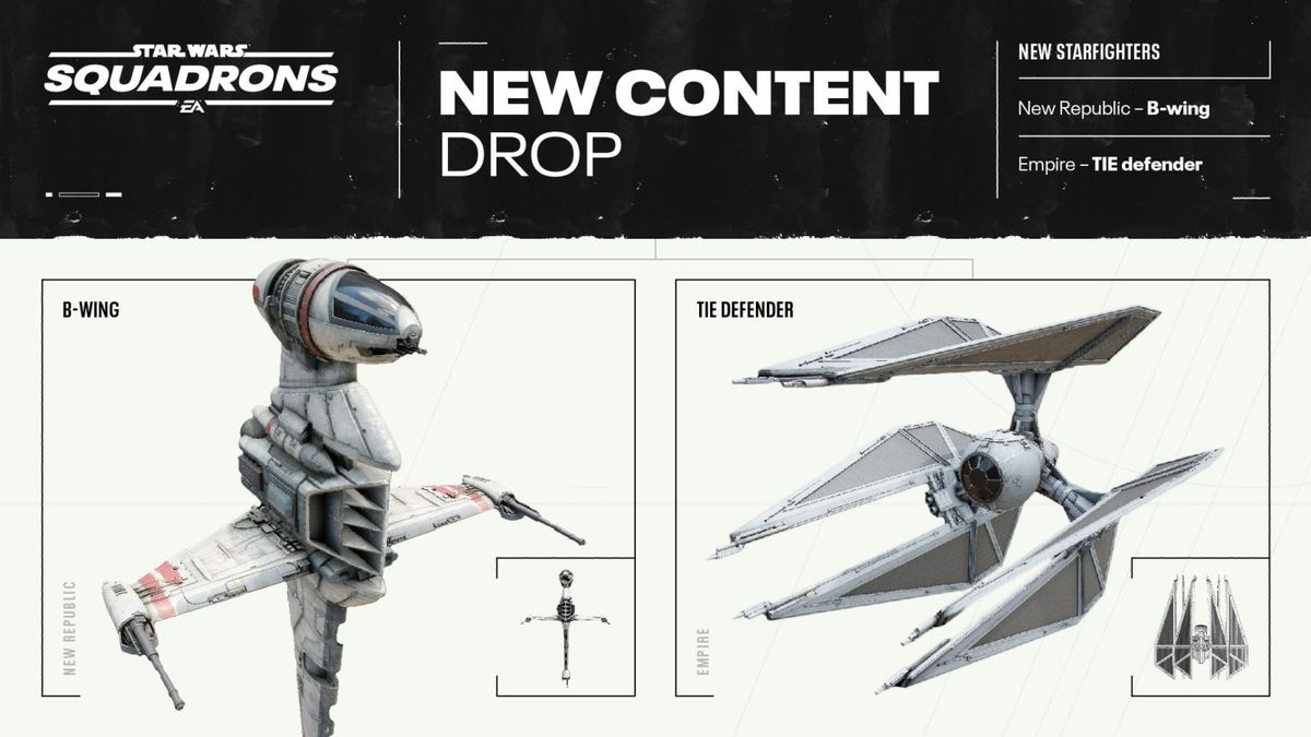 B-wing renders and TIE defender in the game.