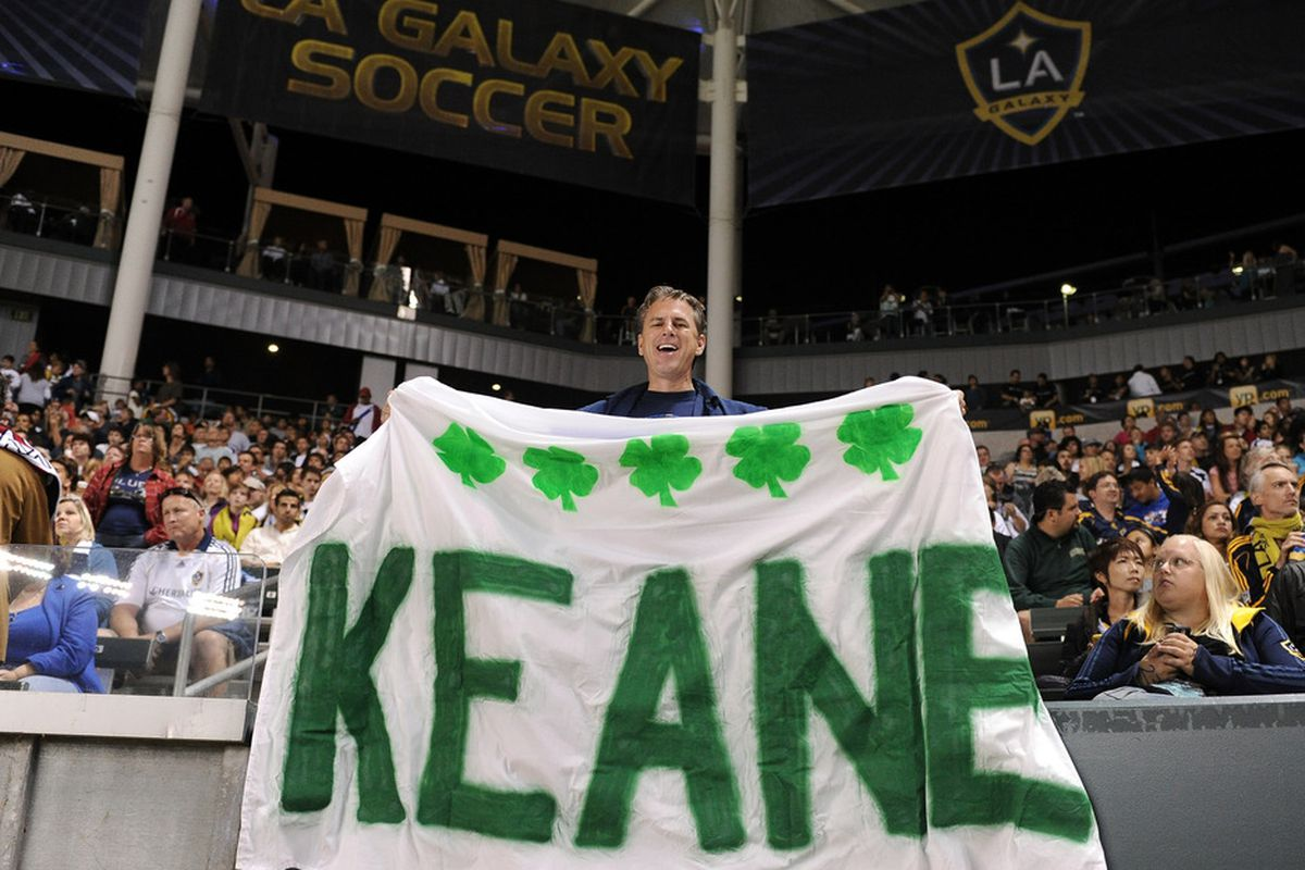 CARSON, CA - AUGUST 20:  Robbie Keane fan hold up a sign during his debut game between the  Los Angeles Galaxy and the San Jose Earthquakes at The Home Depot Center on August 20, 2011 in Carson, California.  (Photo by Harry How/Getty Images)