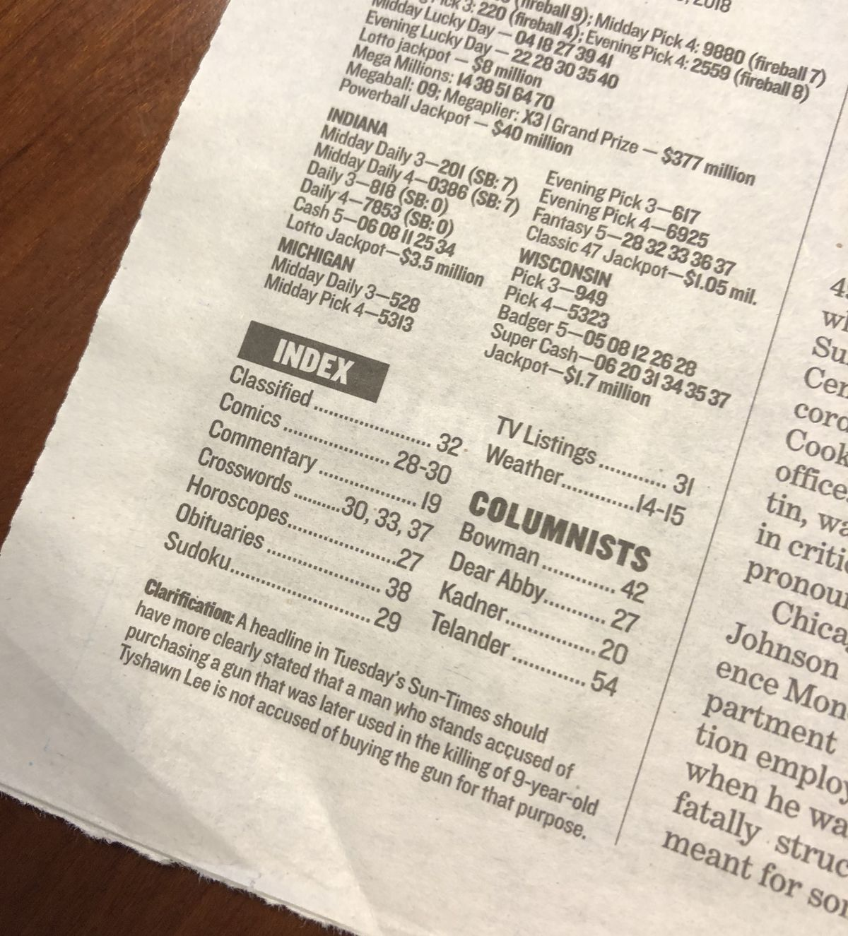 You also miss the index. | Sun-Times Staff