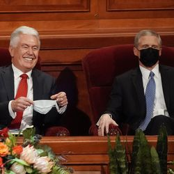 Elder Dieter F. Uchtdorf, a member of The Church of Jesus Christ of Latter-day Saints' Quorum of the Twelve Apostles, left, and Elder David A. Bednar smile prior to the afternoon session of the 191st Semiannual General Conference at the Conference Center in Salt Lake City on Saturday, Oct. 2, 2021.