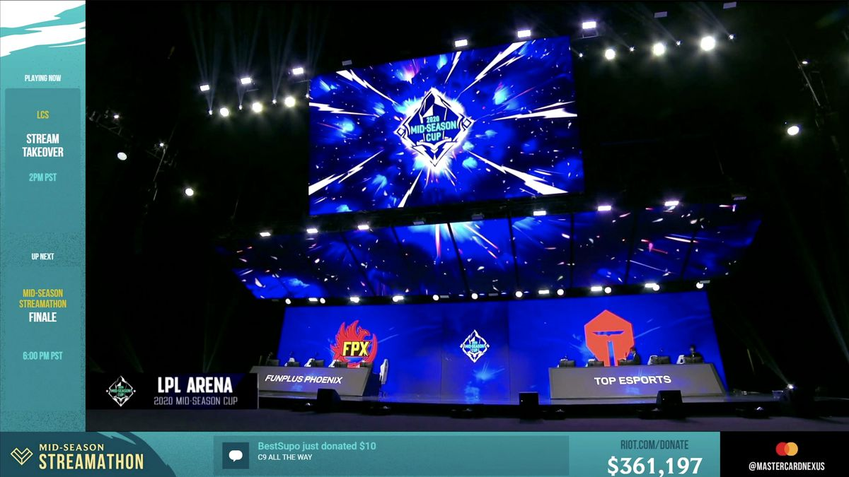 In this screengrab taken from the League of Legends Mid-Season Cup, the stage is seen during the League of Legends Mid-Season Cup Grand Final between FunPlus Phoenix and Top Esports at the LPL Arena on May 31.