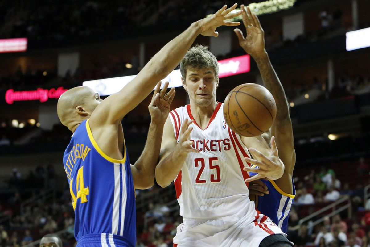 April 21, 2012; Houston, TX, USA; Golden State Warriors small forward Richard Jefferson (44) blocks a shot by Houston Rockets forward Chandler Parsons (25) during the first quarter at the Toyota Center. Mandatory Credit: Thomas Campbell-US PRESSWIRE