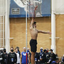 Defensive back Chris Wilcox participates in the vertical jump during BYU pro day in Provo on Friday, March 26, 2021.
