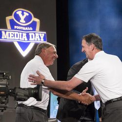 Marc Wilson with Gary Sheide at BYU Football Media Day on June 26