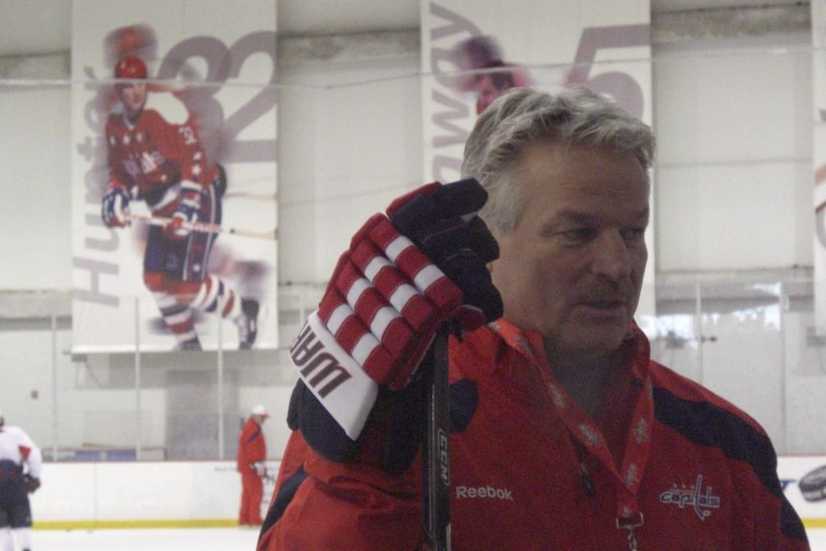 """From the rafters to the bench, Dale Hunter has arrived. Photo <a href=""""http://www.onfrozenblog.com/2011/11/28/a-legend-comes-home-to-lead.html"""" target=""""new"""">via On Frozen Blog</a>."""