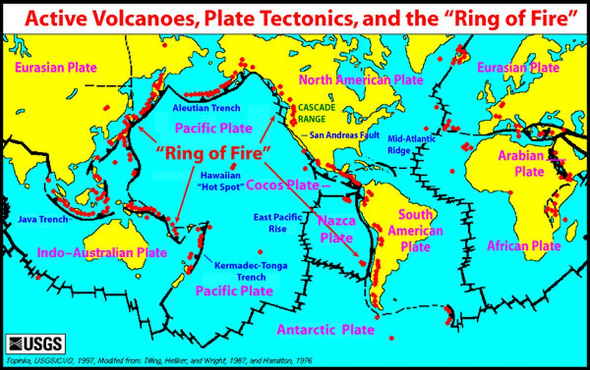 Volcanoes and earthquakes the pacific ring of fire is very active a map of tectonic plates and active volcanoes red dots us geological survey gumiabroncs