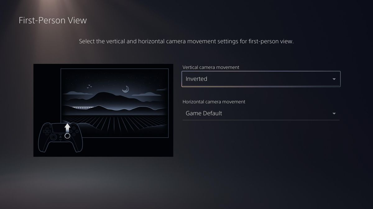 the PS5 setting to invert vertical and/or horizontal camera controls for first-person games