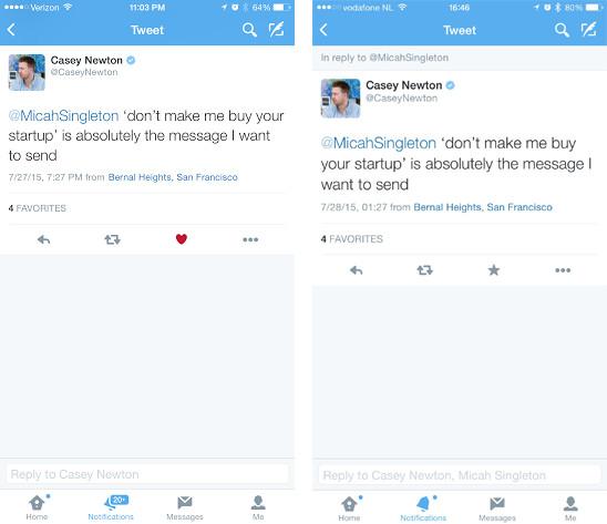 Twitter hearts vs stars