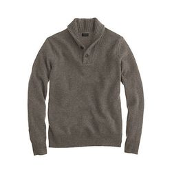 """<strong>J. Crew</strong> Lambswool Shawl Henley Sweater in Heather Mink, <a href=""""http://www.jcrew.com/mens_category/sweaters/wool/PRDOVR~04645/04645.jsp"""">$75</a>"""