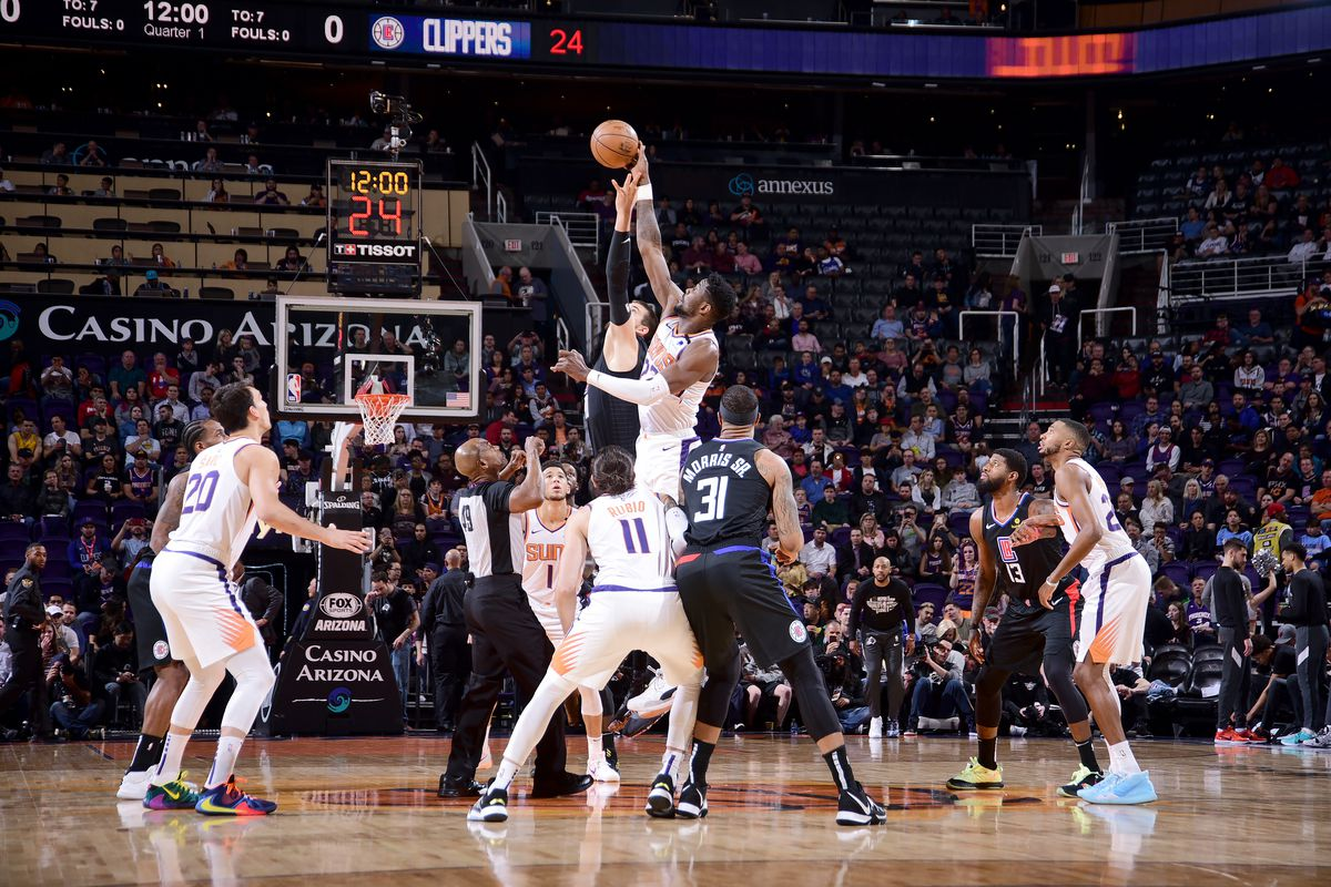 The opening tip-off between the Phoenix Suns and LA Clippers on February 26, 2020 at Talking Stick Resort Arena in Phoenix, Arizona.