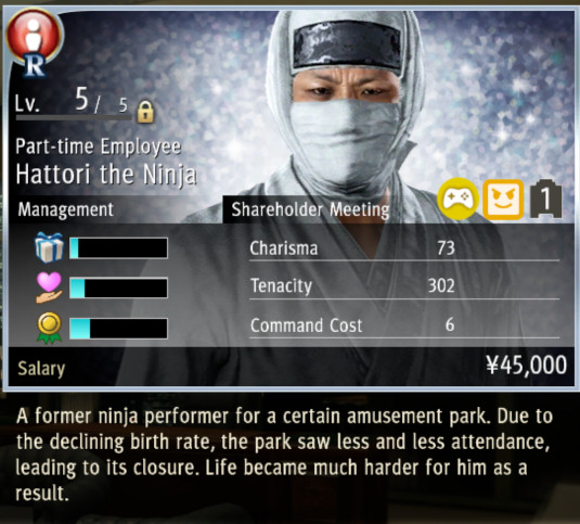 An employee's stat page in Yakuza: Like a Dragon's Ichiban Confections management sim