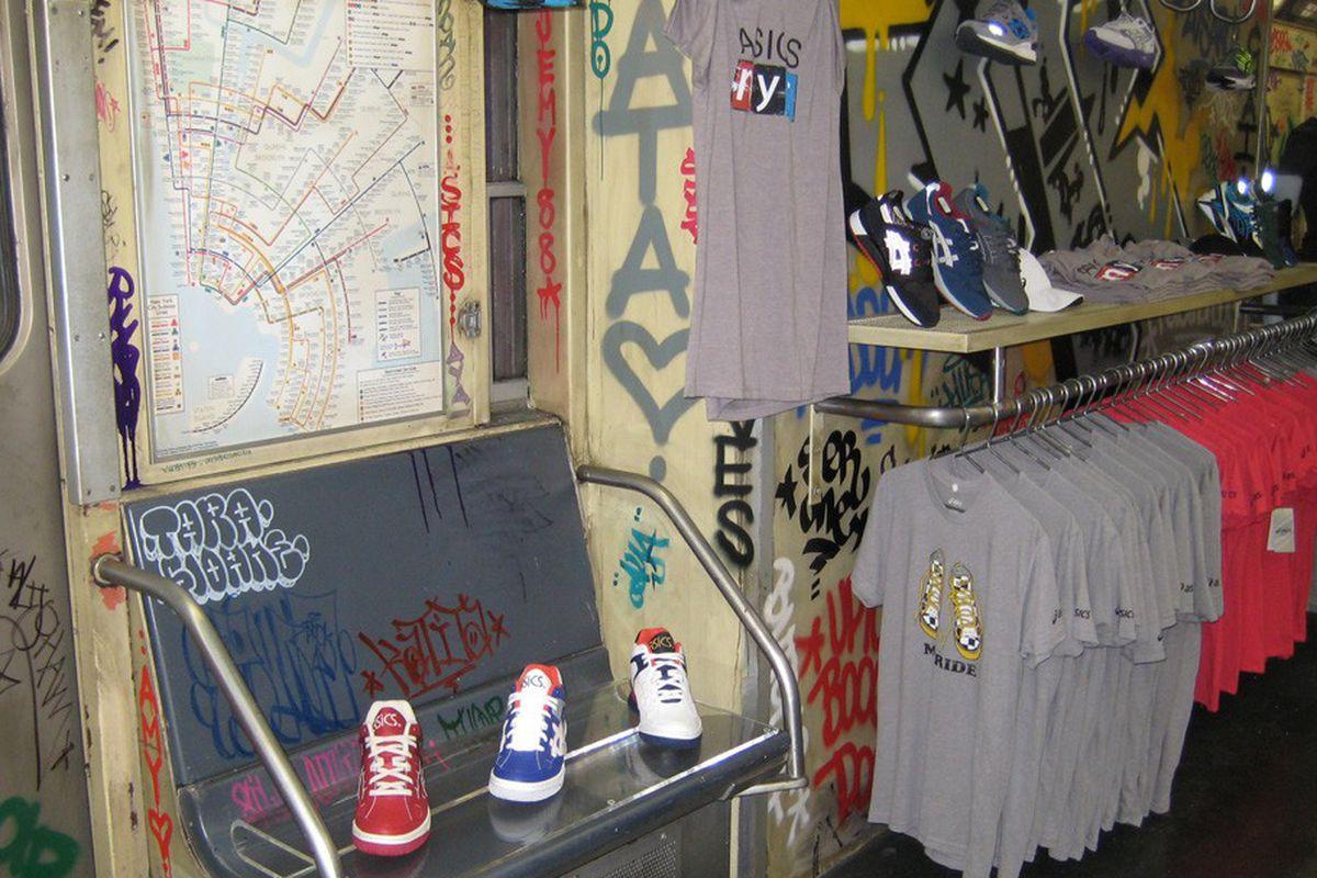 "Photo: <a href=""http://www.wwd.com/footwear-news/retail/asics-takes-the-a-train-8000935"">WWD</a>"