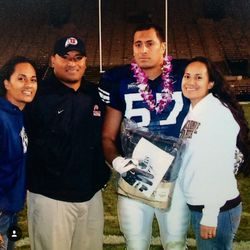 Toa, Kalani, and Pamrose pose with TJ on his senior day before his final home game at BYU. Kalani was a coach at Utah at the time.