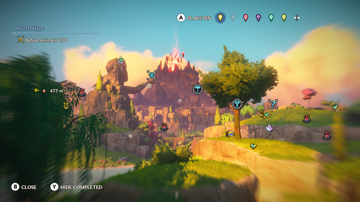 Various icons across the landscape in Immortals Fenyx Rising