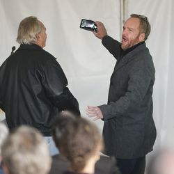 Steve Gleason, manager of the Provo Municipal Airport, takes a selfie with Dan Shumway during a groundbreaking ceremony for a new terminal at the facility on Wednesday, Nov. 6, 2019.