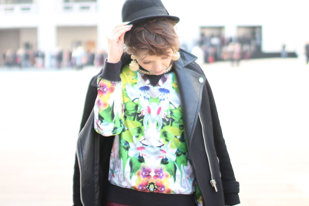 """Personal style blogger Jaimen Sfetko, who was selected for this season's Tumblr Fashion Week Blogger Program, wears a sweatshirt from the Prabal Gurung for Target collection at Lincoln Center. Photo via <a href=""""http://www.jaimenlee.com/"""">JaimenLee."""