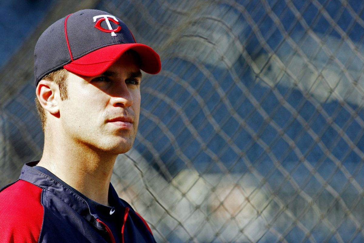 June 19, 2012; Pittsburgh, PA, USA; Minnesota Twins catcher Joe Mauer (7) at the batting cage before playing the Pittsburgh Pirates at PNC Park. Mandatory Credit: Charles LeClaire-US PRESSWIRE