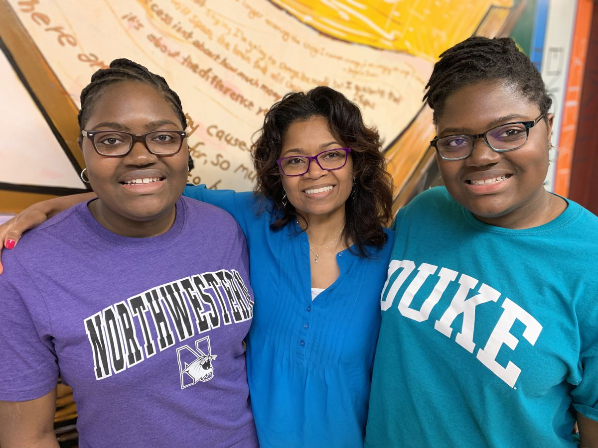 From left: Tyra Smith, guidance counselor April Weathers and Tia Smith.