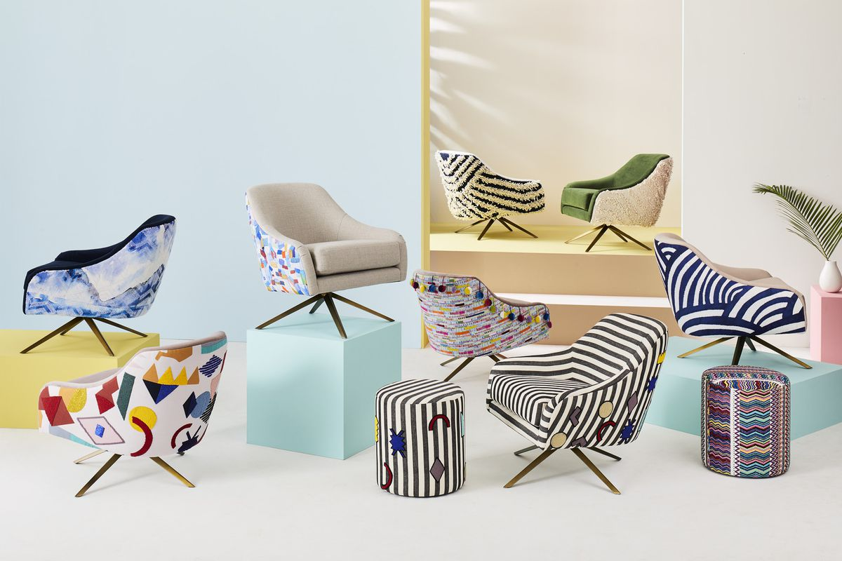 colorful chairs and ottomans from West Elm