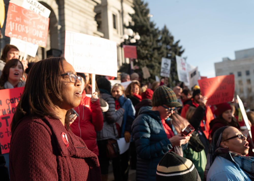 Denver teachers rallied at the state Capitol on the eve of renewed negotiations between their union and Denver Public Schools.