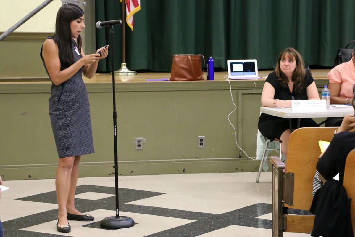 A P.S. 452 parent spoke out Monday evening against the city's plan to move and rezone the school.