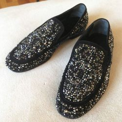 """Max Kibardin slippers, price unknown. """"Max is barefoot but not pregnant. I am constantly stealing his shoes as we are the same size. I think his wife Sabrina is suspicious, but Max's shoes are very me."""""""