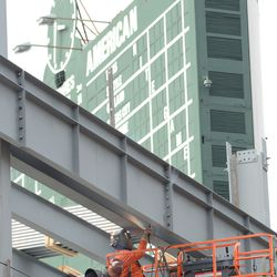 3:32 p.m. Another view of the welder working in right field -
