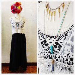 Mary Meyer Stone Zero Maxi, $136; Raga crocheted tank, $74; Sultana Maria bottle necklace, $30; Sultana Maria howlite statement necklace, $60: Scy Designs turquoise horn necklace, $42.