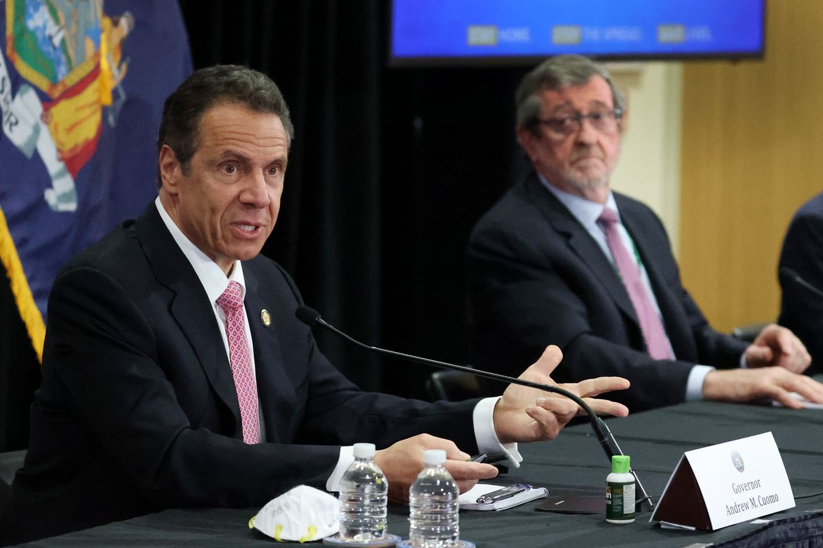 NY Governor Cuomo Holds Coronavirus Briefing At Northwell Feinstein Institute For Medical Research