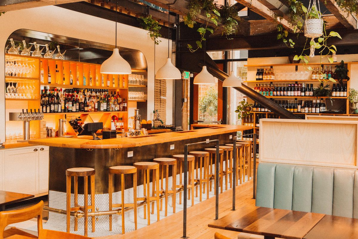 The interior of Light Sleeper, a wine bar in Seattle's Chophouse Row, with light blue and wood accents and plants hanging from the ceiling