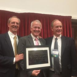 """Brother Tad R. Callister, left, general Sunday School president of the LDS Church, poses with LDS Educators Association president LeGrand """"Buddy"""" Richards and BYU-Hawaii president John Tanner after the first LDS Educators Association conference on Saturday, July 15, 2017."""