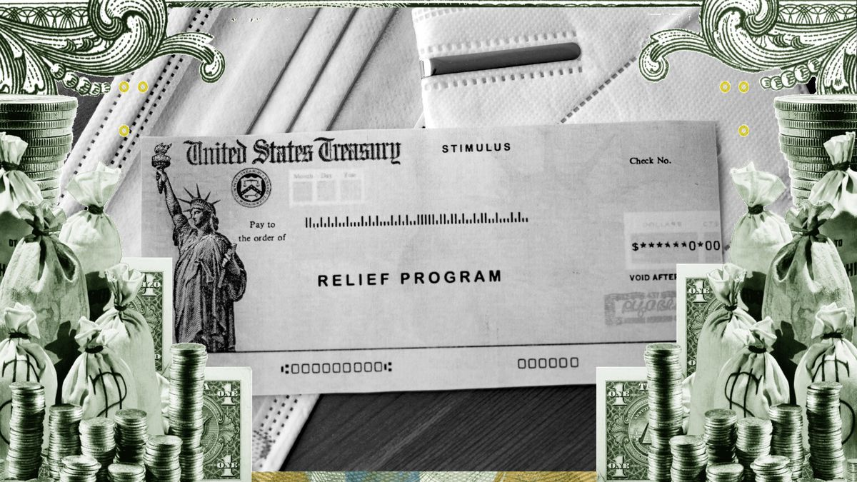 A collage showing a check from the US Treasury addressed to Relief Program, surrounded by cash.
