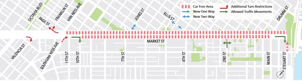 map of a street noting the closures along it for cars.