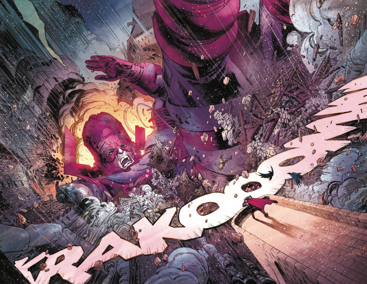 Galactus plummets into the city of Asgard with a huge KRAKOOOMM! in Thor #1, Marvel Comics (2020).