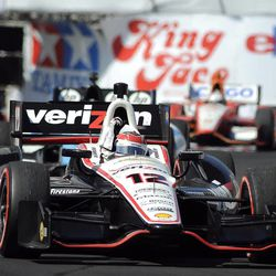 Will Power, of Australia, pumps his fist after taking the checkered flag for the win in the IndyCar Series' Long Beach Grand Prix auto race, Sunday, April 15, 2012, in Long Beach, Calif.