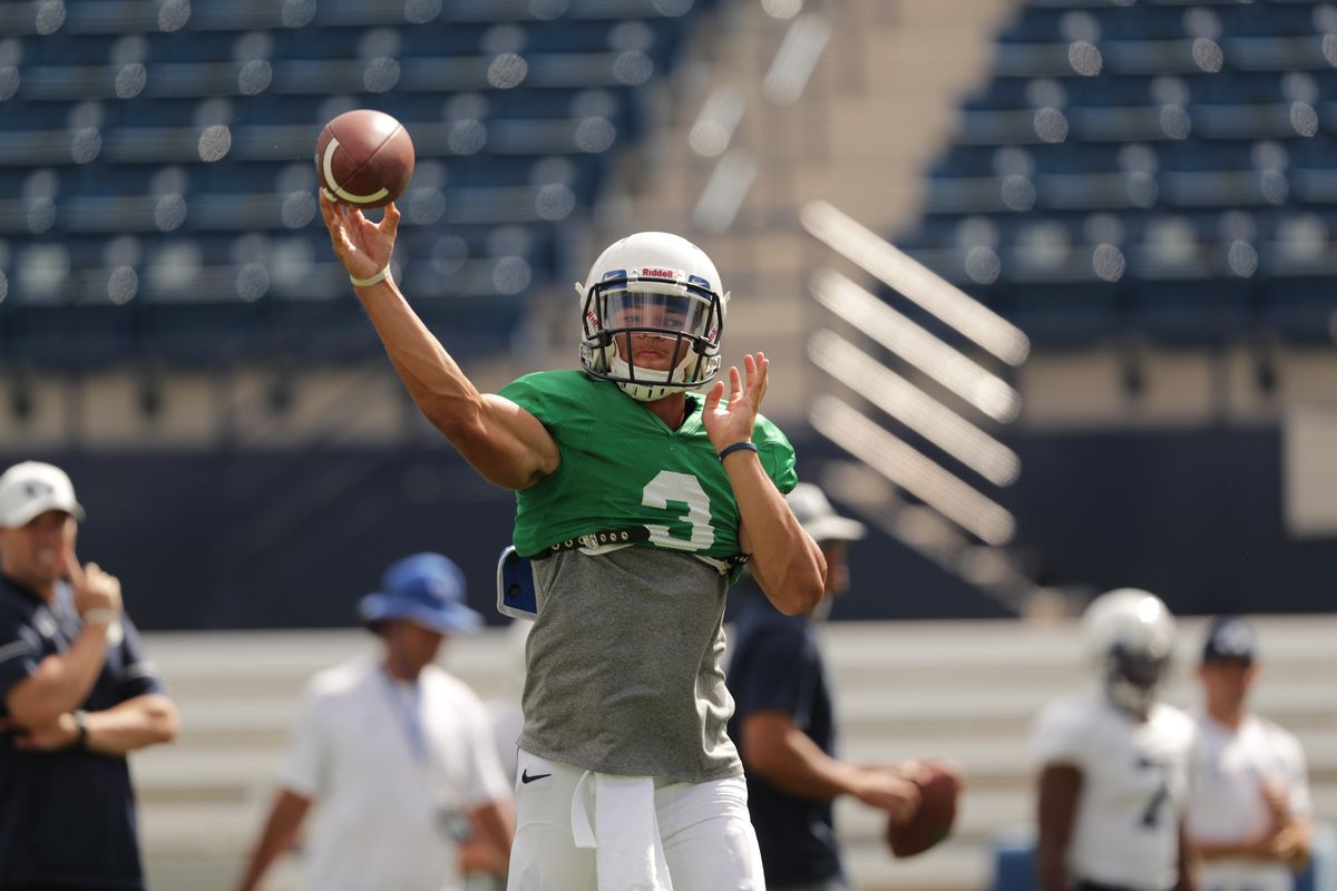 BYU quarterback Jaren Hall passes the ball during the Cougars' scrimmage at LaVell Edwards Stadium on Saturday, Aug. 10, 2019.