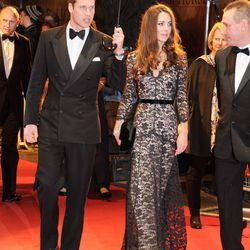 At the UK premiere of 'War Horse' on January 8th, 2012 in a Temperley lace gown.