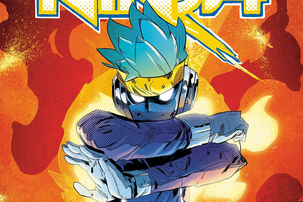 """Tyler """"Ninja"""" Blevins, with his magical headband HB, inside the world of Ketterung. From Ninja: The Most Dangerous Game comic."""